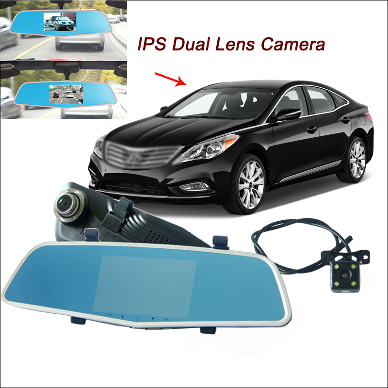 BigBigRoad For Hyundai Azera Car DVR with two cameras Rearview Mirror Video Recorder Dua ...