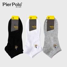 3 пары бренд Pier Polo черный, белый, серый Для мужчин; носки до лодыжки Бизнес вышивка Повседневное чесаный хлопковые носки короткие мужские носки