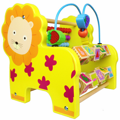 Multifunctional Wooden Cartoon Animal Elephant Lion Pattern Abacus Calculate Bead Frame Wire For Children Learning Math Toys children wooden mathematics puzzle toy kid educational number math calculate game toys early learning counting material for kids