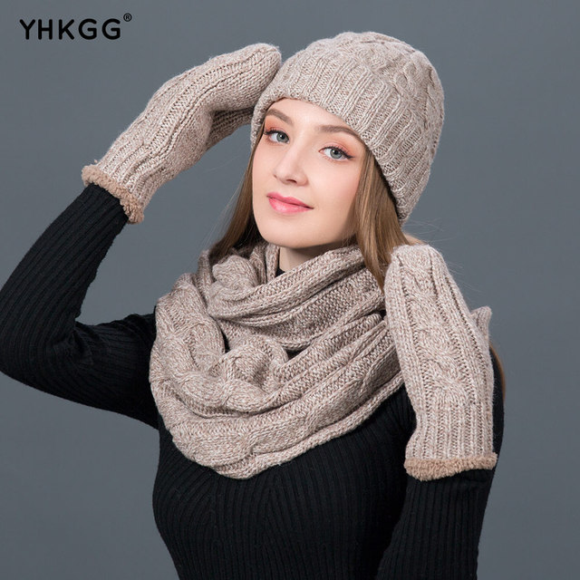 ea72db74e73 YHKGG Set Winter Hats Scarf Gloves For Women Thick Cotton Winter warm knit  Accessories Set Female Beanie Scarf Gloves