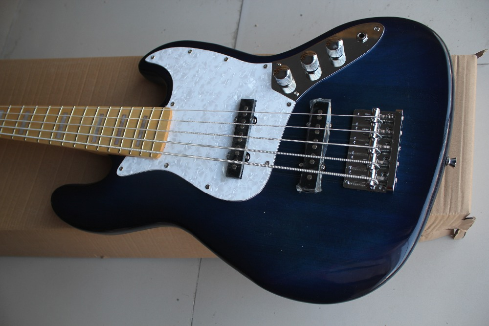 Dark Blue 5 String Electric Bass Guitar With White Pearl PickguardMaple FingerboardChrome HardwaresOffer Customized In From Sports Entertainment