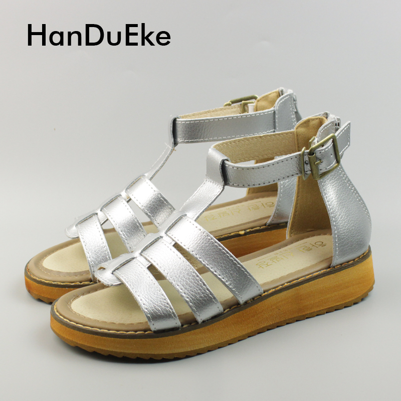 2017 New Sale Women's Gladiator Sandals Med Flat Platform Shoes Sandals Woman Genuine Leather Sandals For Women Student Shoes phyanic 2017 gladiator sandals gold silver shoes woman summer platform wedges glitters creepers casual women shoes phy3323