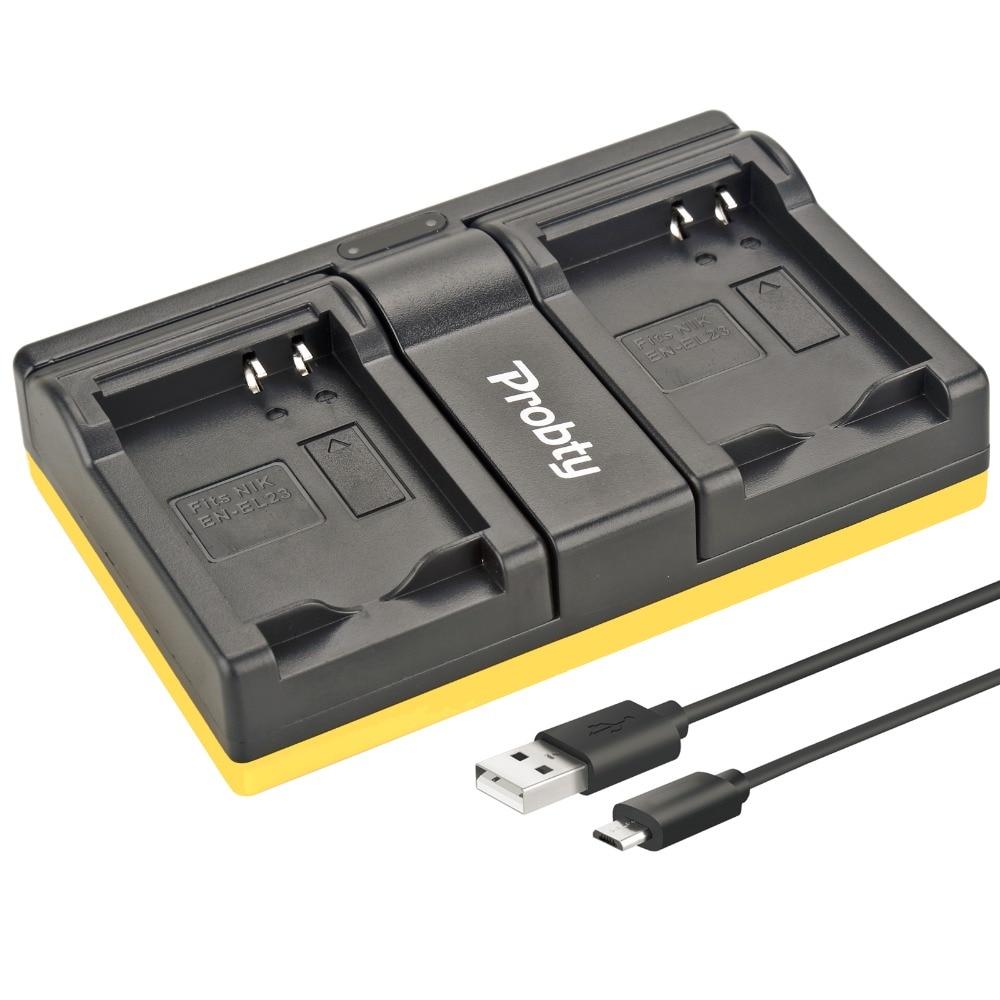 Probty EN-EL23 en EL23 cargador dual USB para Nikon Coolpix P600 PM159 P610S S810c P900S S810 P900