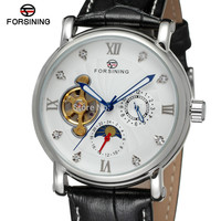 NEW ARRIVE! FORSINING FSG800M3S9 Moon phase Men automatic watch Silver color case &dial with stones black genuine leather