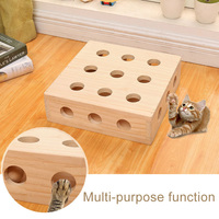 Cats Toy Puzzle Box Wooden Eco friendly Multifunctional Pets Peek Play Toys Box MJJ88