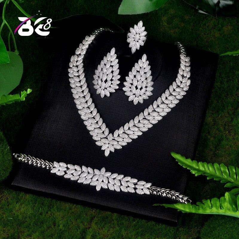 Купить 4 шт/комплект женские свадебные ювелирные украшения с фианитом
