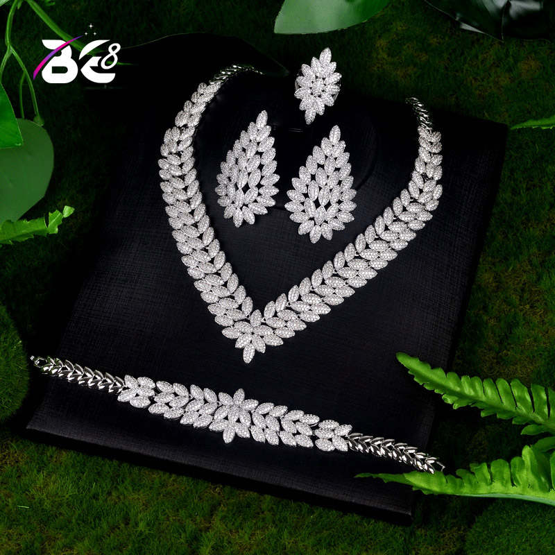 Be 8 New Arrival AAA CZ Bridal Wedding Jewelry Sets Leaf Shape 4pc Set for Women Fashion Jewelry Parure Bijoux Femme S070 a suit of chic rhinestoned leaf wedding jewelry set for women