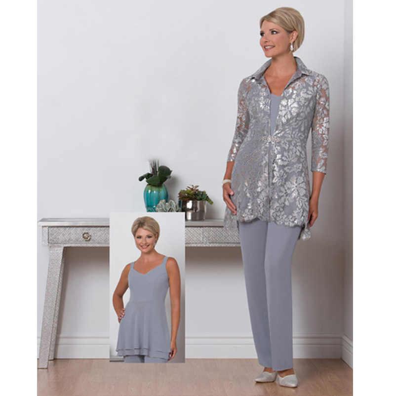 Três Peças Mãe dos Vestidos de Noiva Pant Suit Plus Size Ruiva Neck Mães Terno Com Rendas Jaqueta De Chiffon de Prata vestido