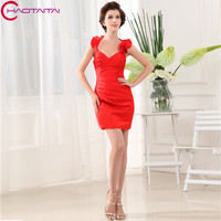 2018 New Design Formal Custommade Brides Sexy Red Satin Dress Cap Sleeve Prom Gowns Bridesmaid Dresses