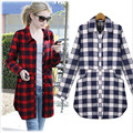 2016 spring new Fashion Ladies Blouses plaid flannel casual shirt female long sleeve plaid shirt ladies plus size women's Tops
