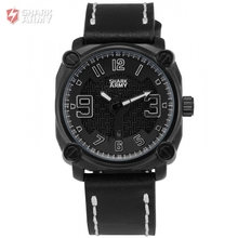 SHARK ARMY Stainless Steel Full Black Electroplate Case Leather Band Sports Waterproof Quartz Mens Wrist Military Watch /SAW223