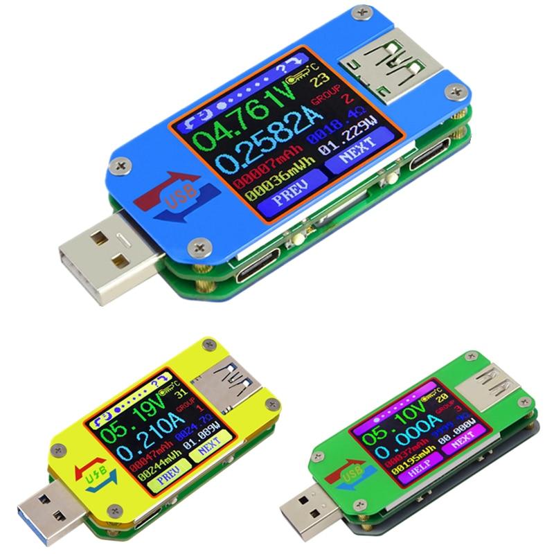 UM34/UM34C UM24/UM24C UM25/UM25C DC amperimetro voltimetro probador de voltaje de corriente tension de carga de la bateria USBUM34/UM34C UM24/UM24C UM25/UM25C DC amperimetro voltimetro probador de voltaje de corriente tension de carga de la bateria USB