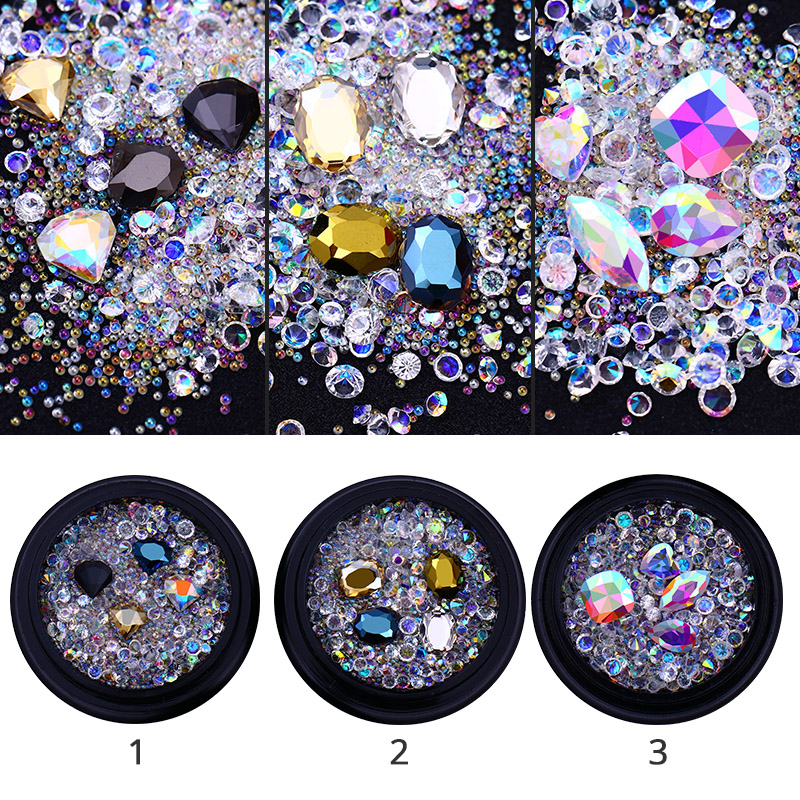 AB Color Crystal Beads 3D Nail Decorations Sharp Bottom Micro Nail Rhinestones DIY Manicure Nail Art Decoration Body Art UV Gel 3d glitters beads acrylic tips decoration manicure wheels nail art rhinestones