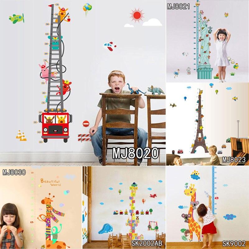 Height Chart Wall Sticker Home Decor Cartoon Height Ruler Jungle Animals Children Giraffe Height Measure For Boy and Girls Room