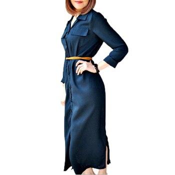 027d141b270 Femmes robe 2018 nouvelle robe longue décontractée été à manches longues  bouton noir chemise Boho Maxi robes dames élégant entraînement Vestidos