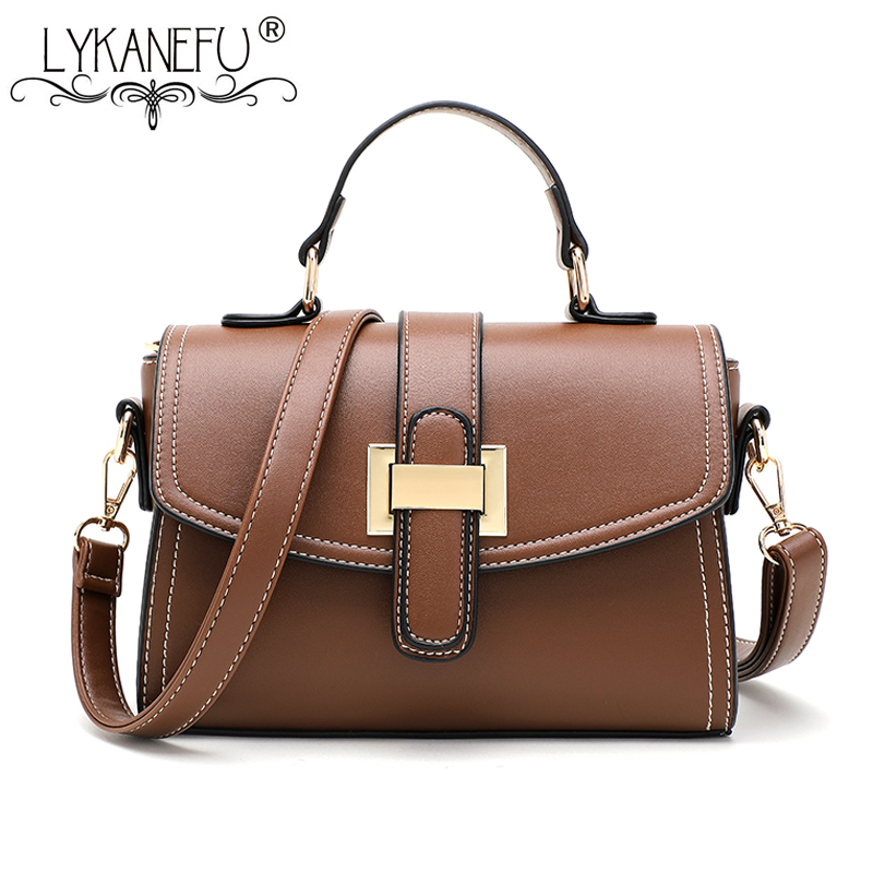 LYKANEFU  Retro Style Women Leather Handbag with Top Handles Shoulder Bag Ladies PU Leather Tote Handbag Designer  High QualityLYKANEFU  Retro Style Women Leather Handbag with Top Handles Shoulder Bag Ladies PU Leather Tote Handbag Designer  High Quality