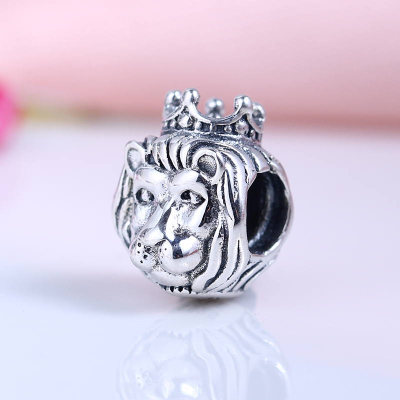 High Quality 100% 925 Sterling Silver Charms Fit Original Pandora Bracelet Cute Lion Charms Beads for Jewelry Making Gift