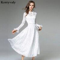 Lady Fairy Long White Lace Dress Vestido Longo 2017 Autumn Women Long Sleeved Evening Party Maxi Dress Robe Longue K9442