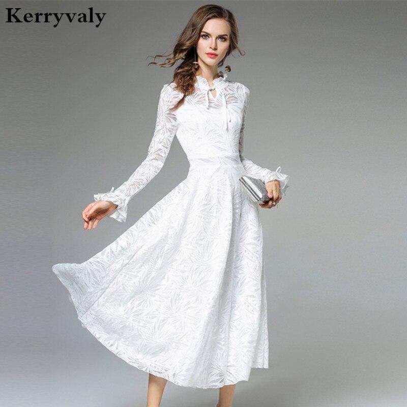 3a9a18a83599 Lady Fata Lungo Abito Bianco di Pizzo Vestido Longo 2019 Donne di Autunno A  Maniche Lunghe Del Partito di Sera Maxi Vestito Robe Longue K9442