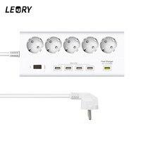 LEORY 5 EU Plug Outlets 4 USB Ports Wall Socket Power Strip 250V 16A Extension Outlets Switch Mains Lead Plug Strip Adapter