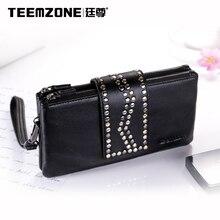 Teemzone Brand Women Genuine Leather Fashion Long Wallet Sheepskin Handdbag High Quality Clutch Bag Ladies Purse Free Shipping