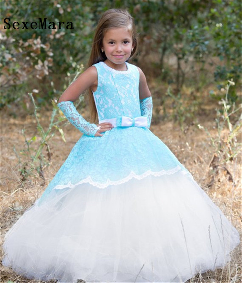 Dresses For Flower Girls For Weddings: New Kids Pageant Evening Gowns 2019 Blue Lace Ball Gown