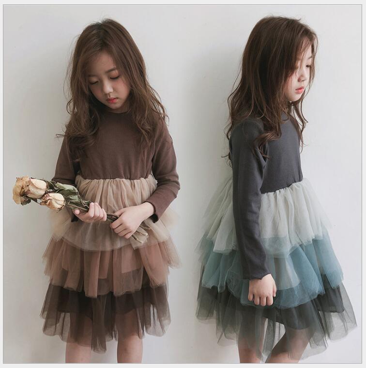 Luxry bébé filles à manches longues tutu robe pour enfants 3-10 ans enfants à manches longues en couches princesse fête robe automne hiver vêtements