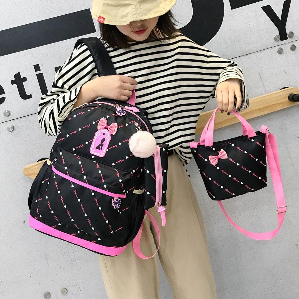 Women Bow Canvas Three-piece School Bag 45