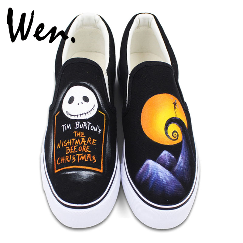 Wen Design Custom Nightmare before Christmas Hand Painted Slip On Shoes Unisex Canvas Sneakers for Birthday Gifts