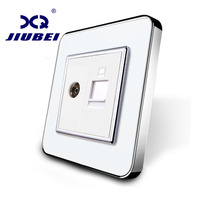 Manufacture Jiubei White Crystal Glass Panel Without Plug Adapter 2 Gangs Wall Computer And TV Socket