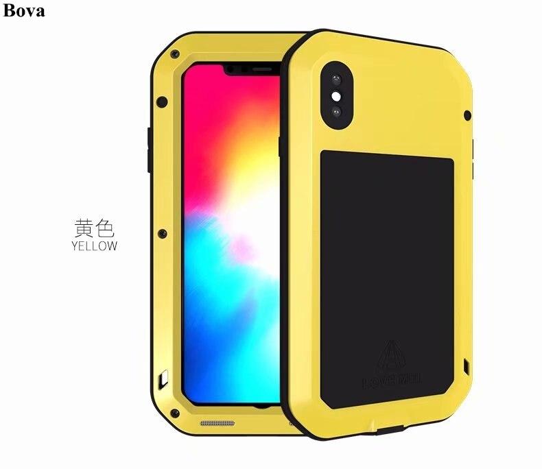 Coque étanche originale Love Mei pour Apple iPhone XS X XR XS Max antichoc boîtier robuste en aluminium