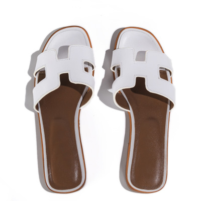 7916f407e Summer black or white ladies h sandals ladies luxury designer sandals real  cowhide flat shoes sneakers woman fashiona
