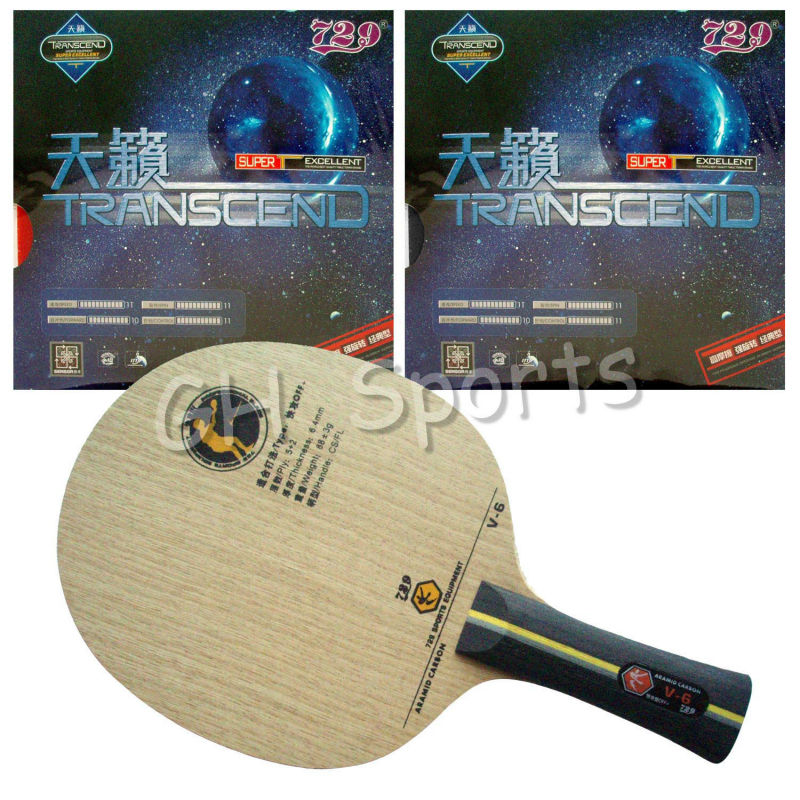 Pro Table Tennis PingPong Combo Racket RITC729 V-6 Blade with 2x TRANSCEND CREAM Rubbers Shakehand long handle FL galaxy milky way yinhe v 15 venus 15 off table tennis blade for pingpong racket