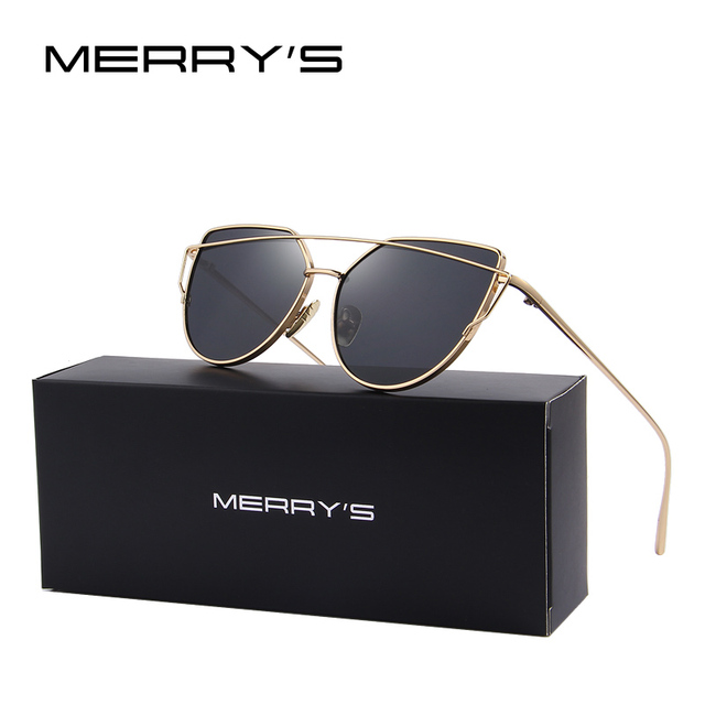 MERRY'S Moda Mujeres Cat Eye Sunglasses Classic Diseñador de la Marca de Doble Vigas gafas de Sol Recubrimiento Espejo Plano Lente Panel S'7882