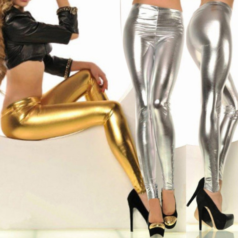 Women Shiny  Gold Leggings High-Waisted Faux Leather Stretch Pencil Pants
