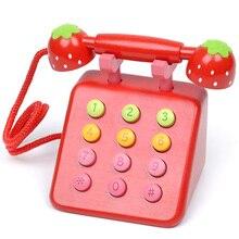 Детские игрушки клубника деревянный телефон игрушек из дерева игрушки играть дома подарок на день рождения девочка мальчик