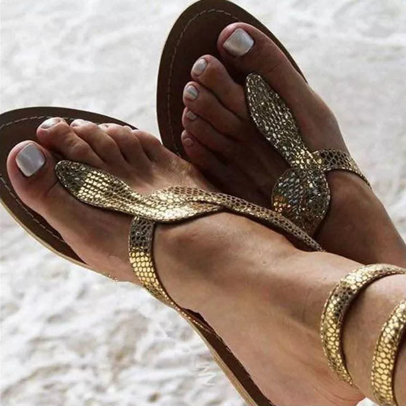 Sandals Flat-Shoes Ankle-Strap Snake Bling Gold Beach Summer Size-35-43 New