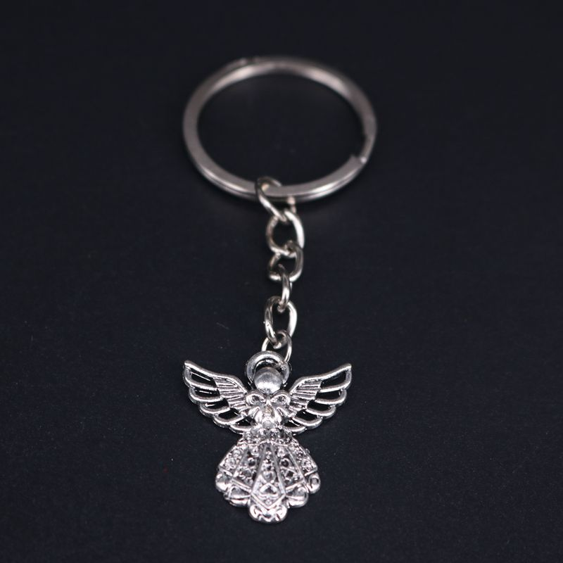 New Antique Silver Plated Big Guardian Angel Pendant Key Chain Jewelry Key Rings