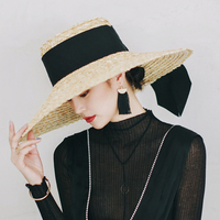 [La MaxPa] 2018 Wide Big Brim Summer Beach Wheat Straw Women Boater hat with Ribbon Tie For Vacation Holiday Casquette