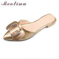 Meotina 2017 Shoes Women Slides Pointed Toe Bow Slides Mules Shoes Slippers Flat Sandals Ladies Summer
