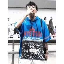 UNCLEDONJM Mens Short Sleeve Hooded Sweatshirts Harajuku Hip hop Casual Hoodies Streetwear 2019 Summer Fashion Hoody 270S