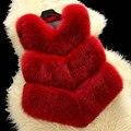 2016 Otoño Y El Invierno de Piel Falsa Chaleco Mujeres Corto Estilo Fox Abrigo de piel Chaleco Sin Mangas de la Alta Calidad de Lujo Faux Fur Patchwork Abrigos