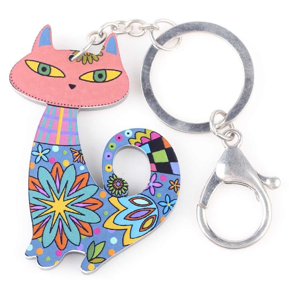 Bonsny 2015 nuevo Multi gato Marvel acrílico llavero para llaves mujer chica llavero decorativo colgante joyería Accesorios