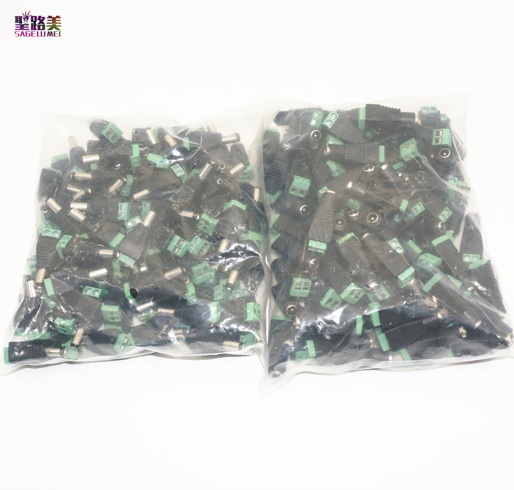 CCTV Camera 5050 3528 Single Color LED Strips 100pcs/pack Female DC Power Adapter Plug 5.5mm X 2.1mm Male Connector Easy