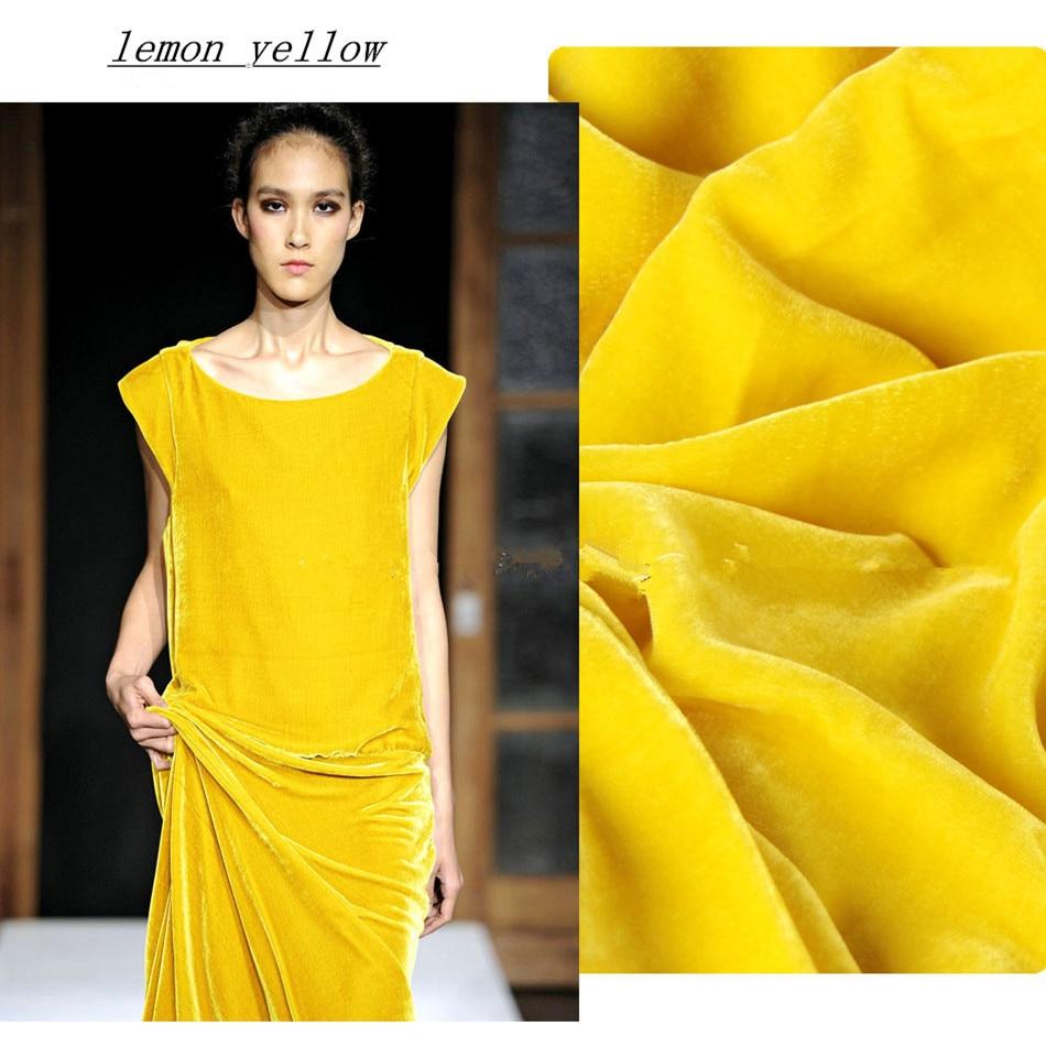 1 meter silk velour tyg för att sy sammet tyger solid tyg elegant telas tjock kvarts quilting full klänning ädla