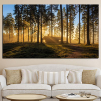 Big Size Print Woods Mountain Forests Reveal Morning Sun Kyoto Japan Canvas Art Painting Wall Picture