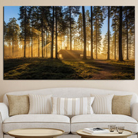 Big Size Print Woods Mountain Forests Reveal Morning Sun Kyoto Japan Canvas Art Painting Wall Picture for Living Room Cuadros