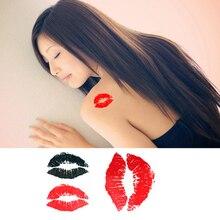 Temporary Tattoo Caterpillar Red Lips Tattoos Sticker Waterproof Body Art Tatoo Sexy Kiss For Women