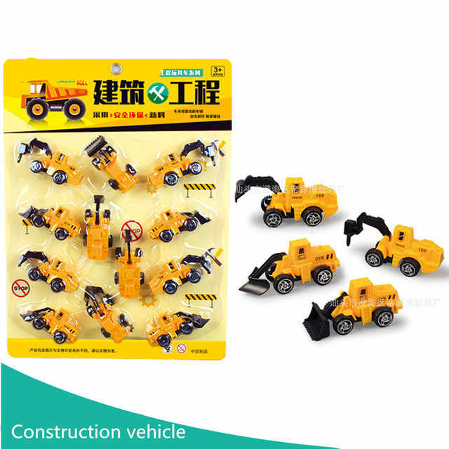 12pcs Pull Back Car Toys Mobile Machinery Shop Construction Vehicle Fire Truck Taxi Model Baby Mini Cars Gift Children Toys