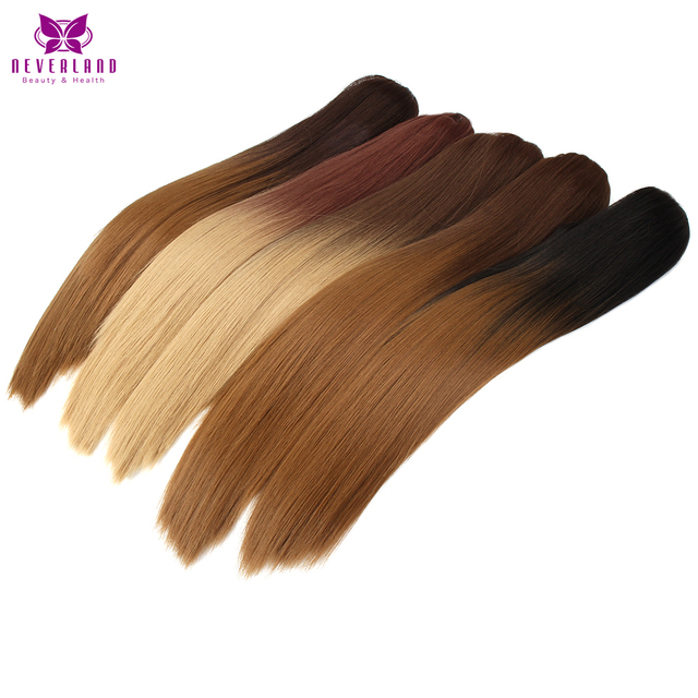 """Neverland Heat Resistant  9 Colors 20"""" Natural Straight Claw On Ponytails Ombre Synthetic Pony Tail Hair Extensions"""